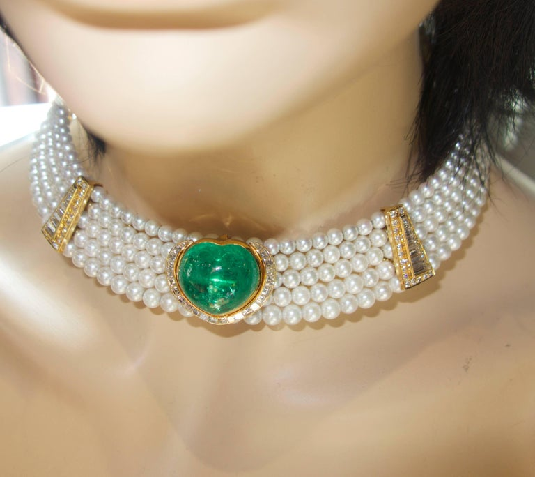 Important Heart Shaped Emerald, Diamond and Pearl Choker Necklace 1