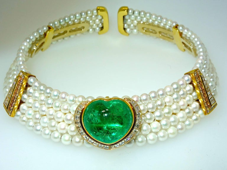 Modern Important Heart Shaped Emerald, Diamond and Pearl Choker Necklace