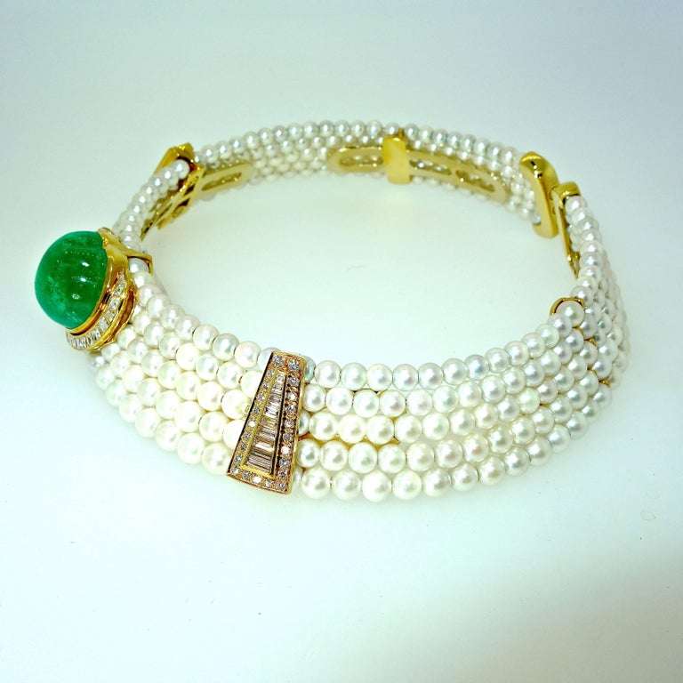 Important Heart Shaped Emerald, Diamond and Pearl Choker Necklace In Excellent Condition In Aspen, CO