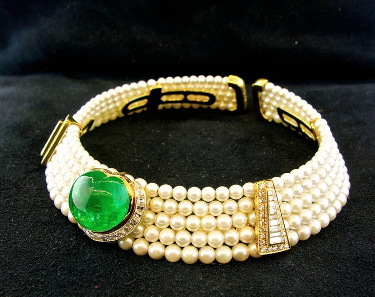 Important Heart Shaped Emerald, Diamond and Pearl Choker Necklace 2