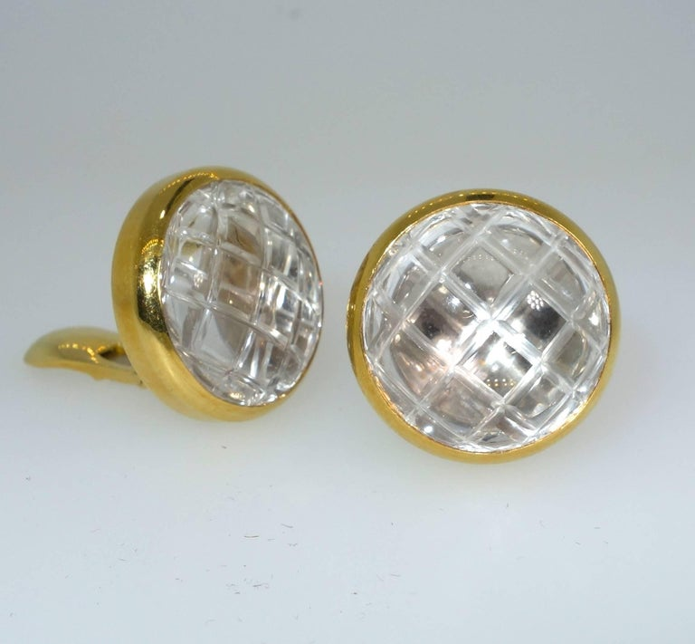 David Webb Rock Crystal Ear Clips In Excellent Condition For Sale In Aspen, CO