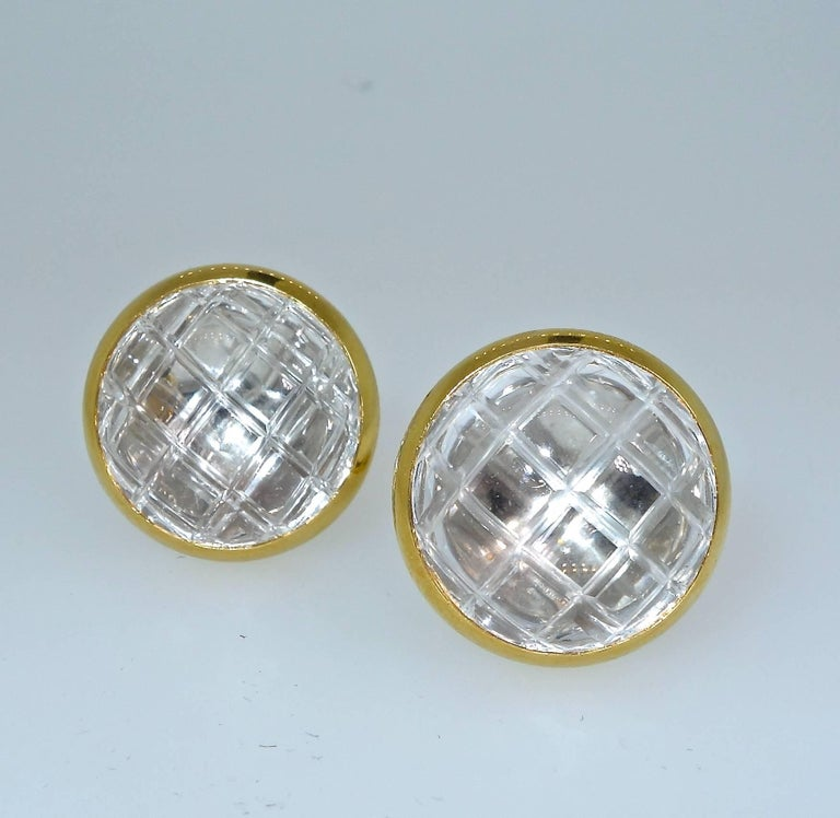 Modern David Webb Rock Crystal Ear Clips For Sale