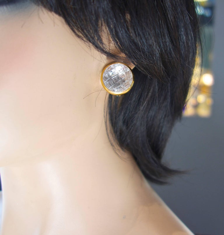 David Webb Rock Crystal Ear Clips For Sale 1