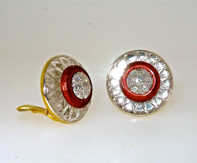 Contemporary David Webb Rock Crystal, Diamonds and Red Enamel Earrings For Sale