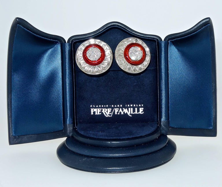 David Webb Rock Crystal, Diamonds and Red Enamel Earrings In Excellent Condition For Sale In Aspen, CO