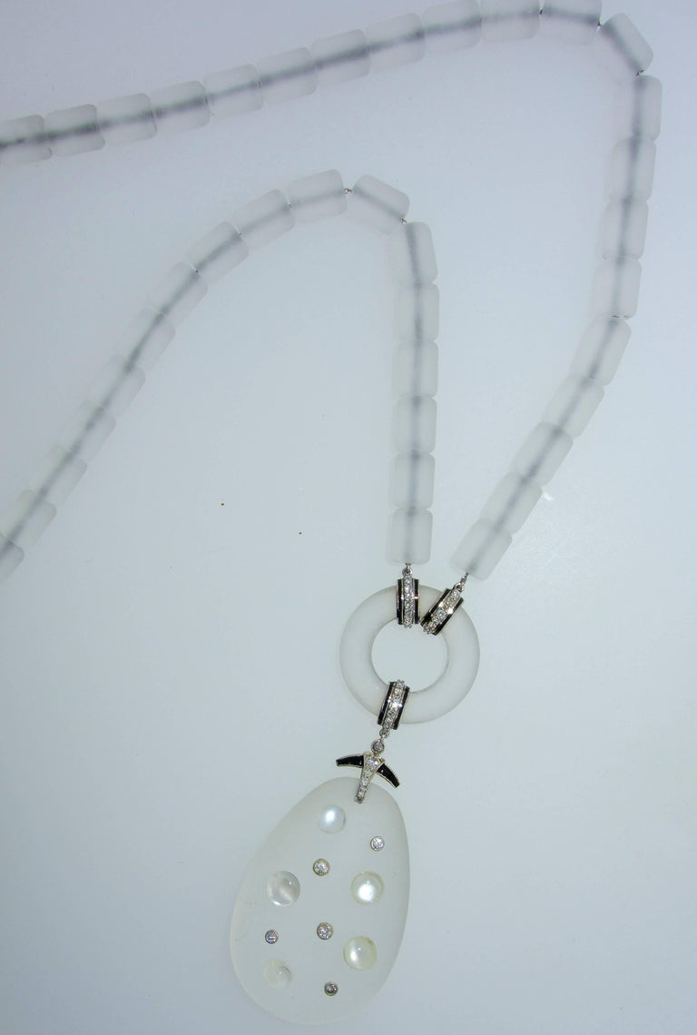 Art Deco Modernist Frosted Rock Crystal, Diamond, Onyx, Moonstone Necklace For Sale 1