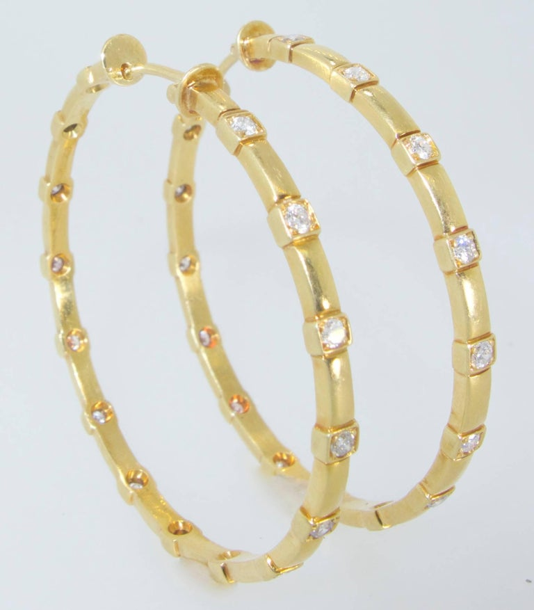 Contemporary 18 Karat And Diamond Large Hoop Earrings For