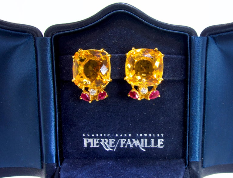 Retro Citrine, Ruby and Diamond Earrings, mid 20th century. In Excellent Condition For Sale In Aspen, CO