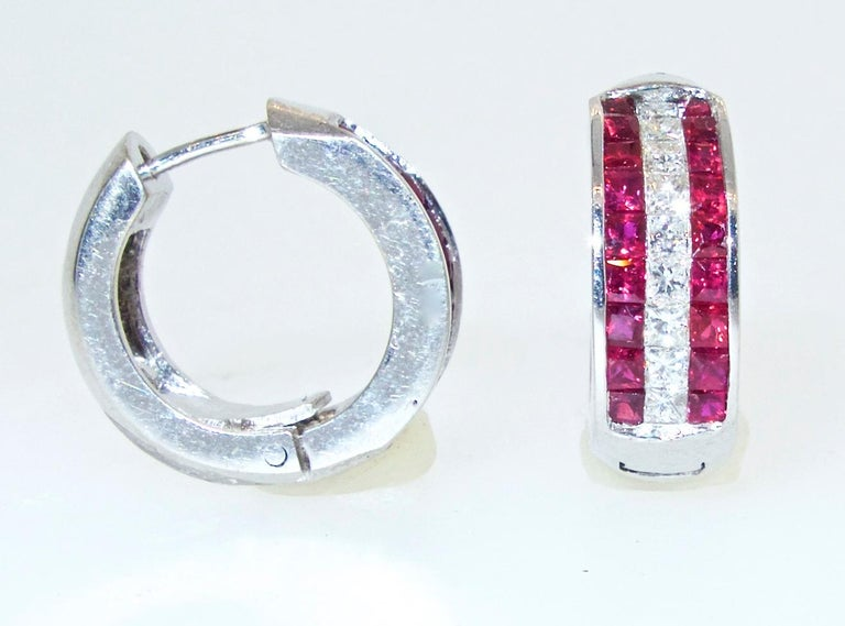 Contemporary 18 Karat Ruby and Diamond Earrings For Sale