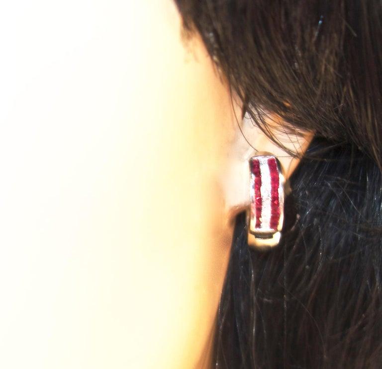 Women's or Men's 18 Karat Ruby and Diamond Earrings For Sale