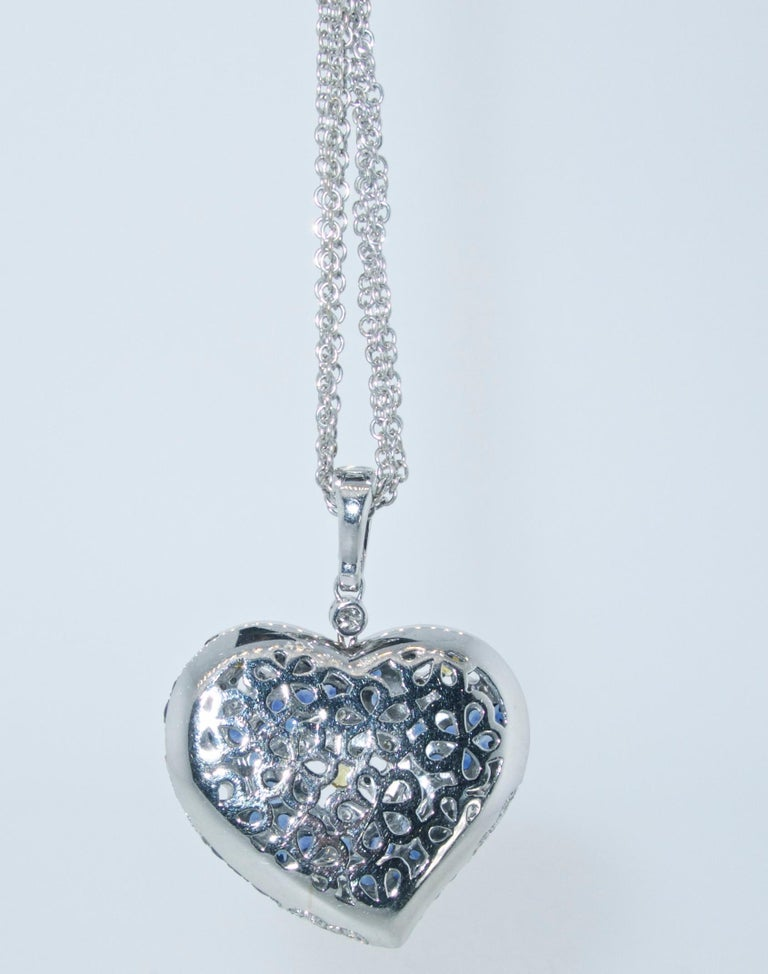 Contemporary Sapphire and Diamond Large Heart Pendant Necklace For Sale