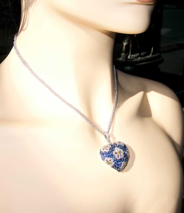 Sapphire and Diamond Large Heart Pendant Necklace For Sale 1