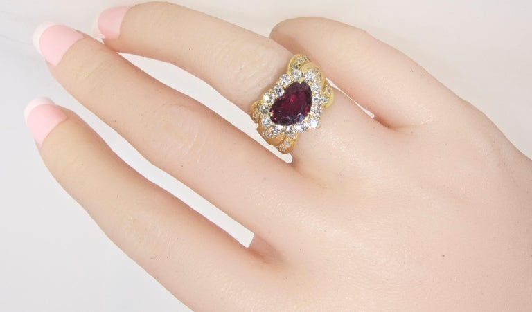 Women's or Men's Fine Natural Ruby and Diamond Ring For Sale