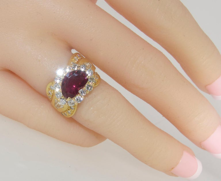 Fine Natural Ruby and Diamond Ring For Sale 1