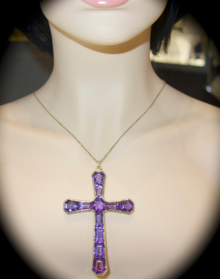Women's or Men's Large Antique Cross of Fine Fancy Cut Amethysts, circa 1890 For Sale