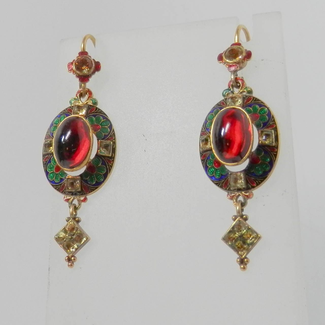 High Victorian Renaissance revival pendant  earrings For Sale