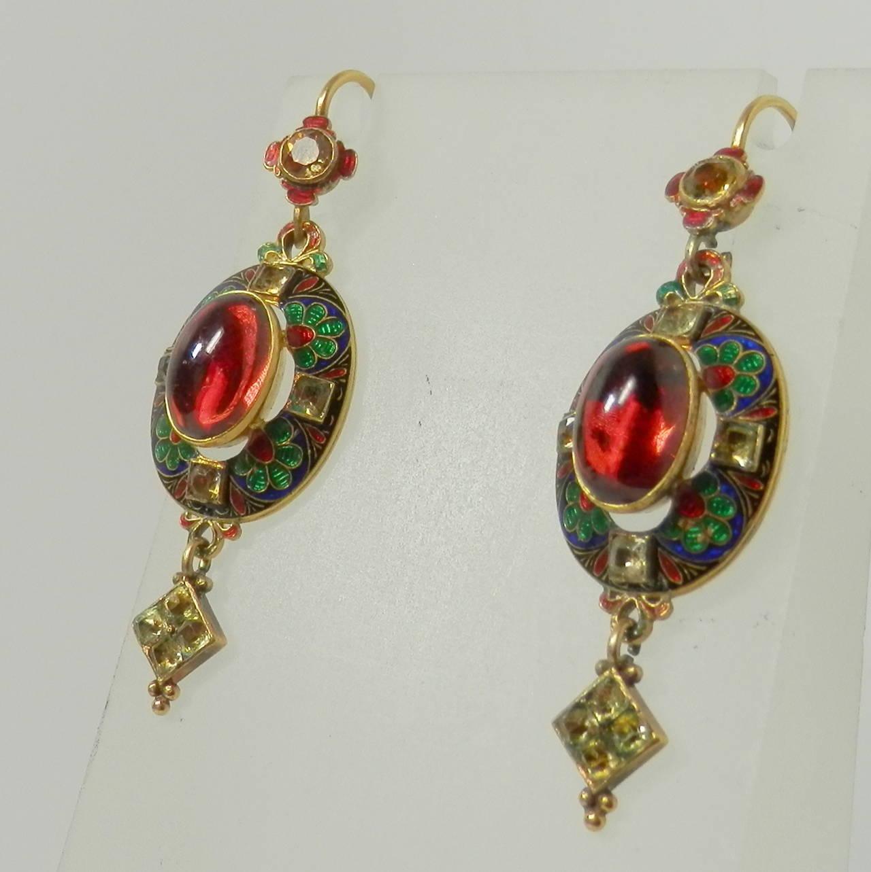 Renaissance revival pendant  earrings In Excellent Condition For Sale In Aspen, CO