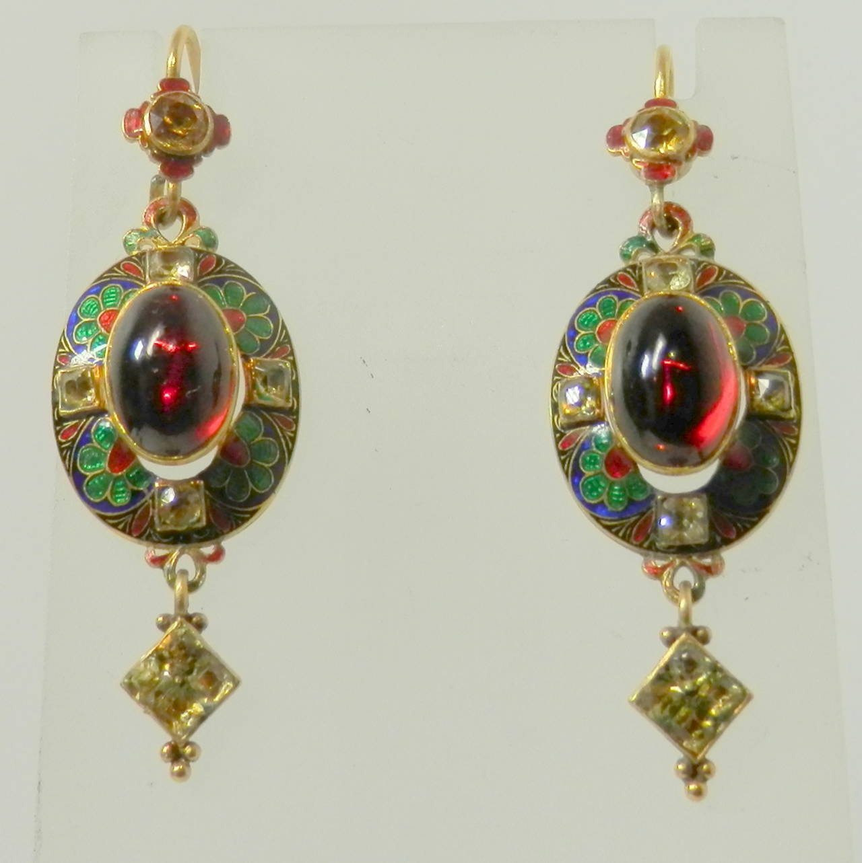Women's Renaissance revival pendant  earrings For Sale