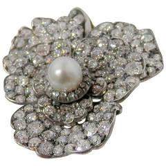 Victorian Pearl Diamond Silver Gold Pendant