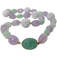 Emerald Jade  Amethyst Bead Necklace