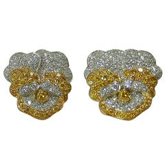 Oscar Heyman Diamond Gold Platinum Pansy Motif Earrings