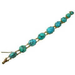 Turquoise Gold Link Bracelet