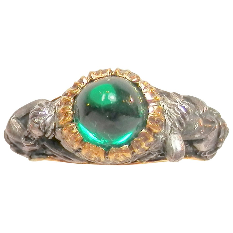 antique emerald silver gold band ring at 1stdibs