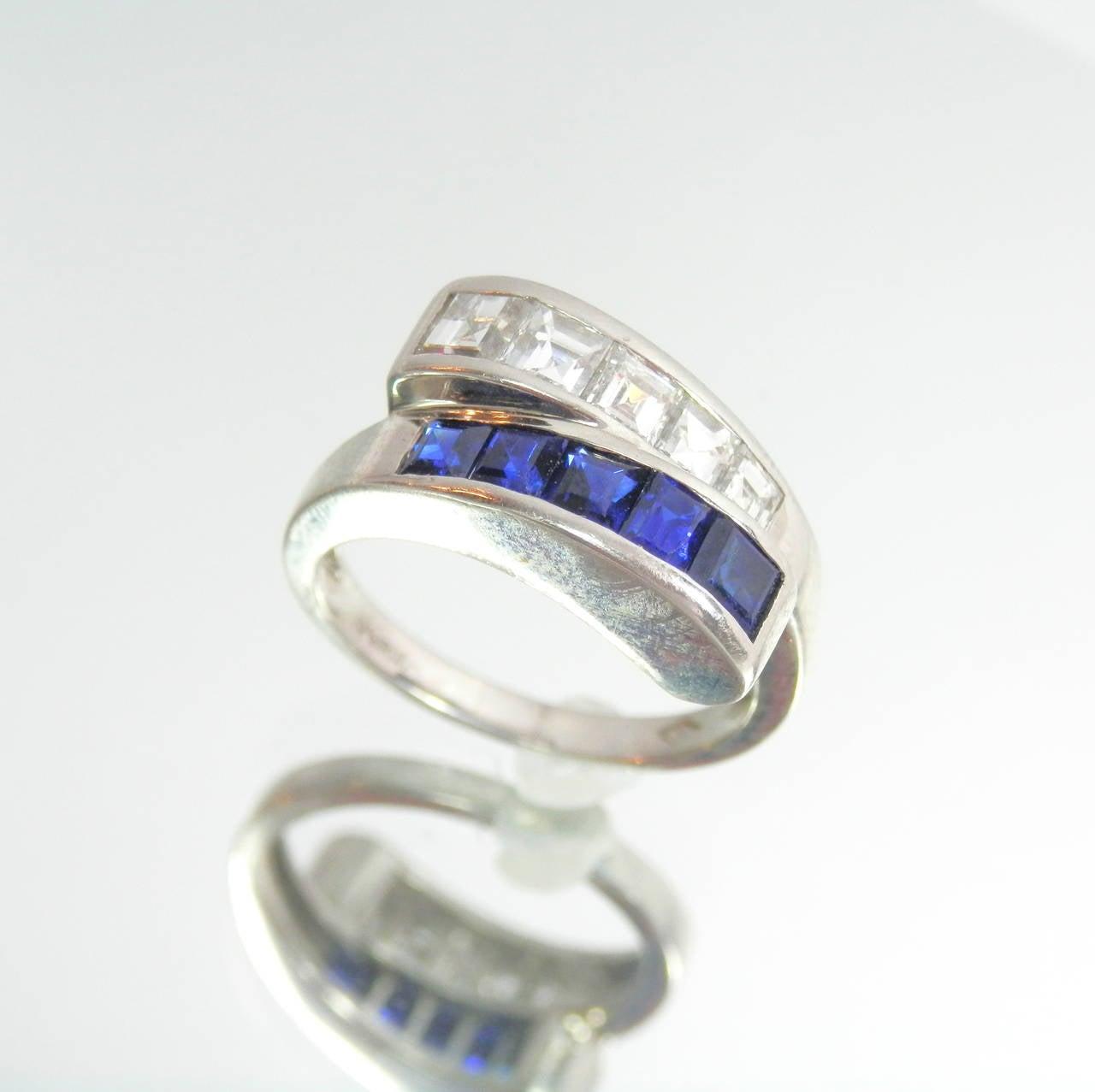 sapphire platinum band ring at 1stdibs