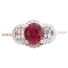 Petite Burma No Heat Ruby Diamond Platinum Ring