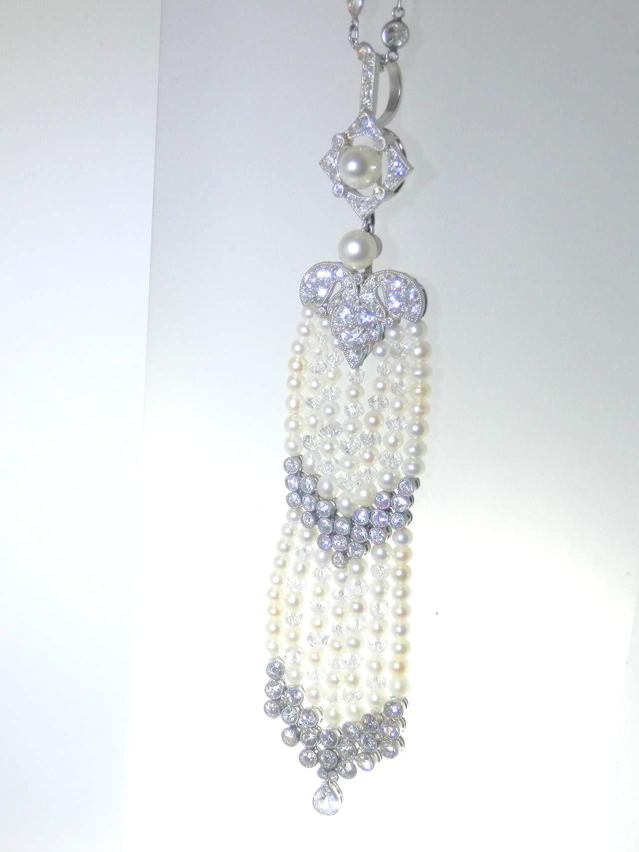 Elaborate Edwardian Natural Pearl and Diamond Pendant For Sale 2