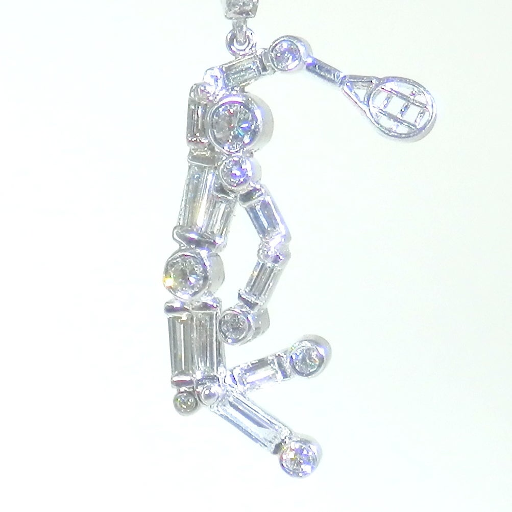 platinum tennis player earrings at 1stdibs