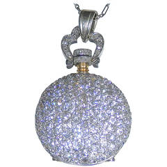 Lady's Platinum Diamond Antique Pendant Watch