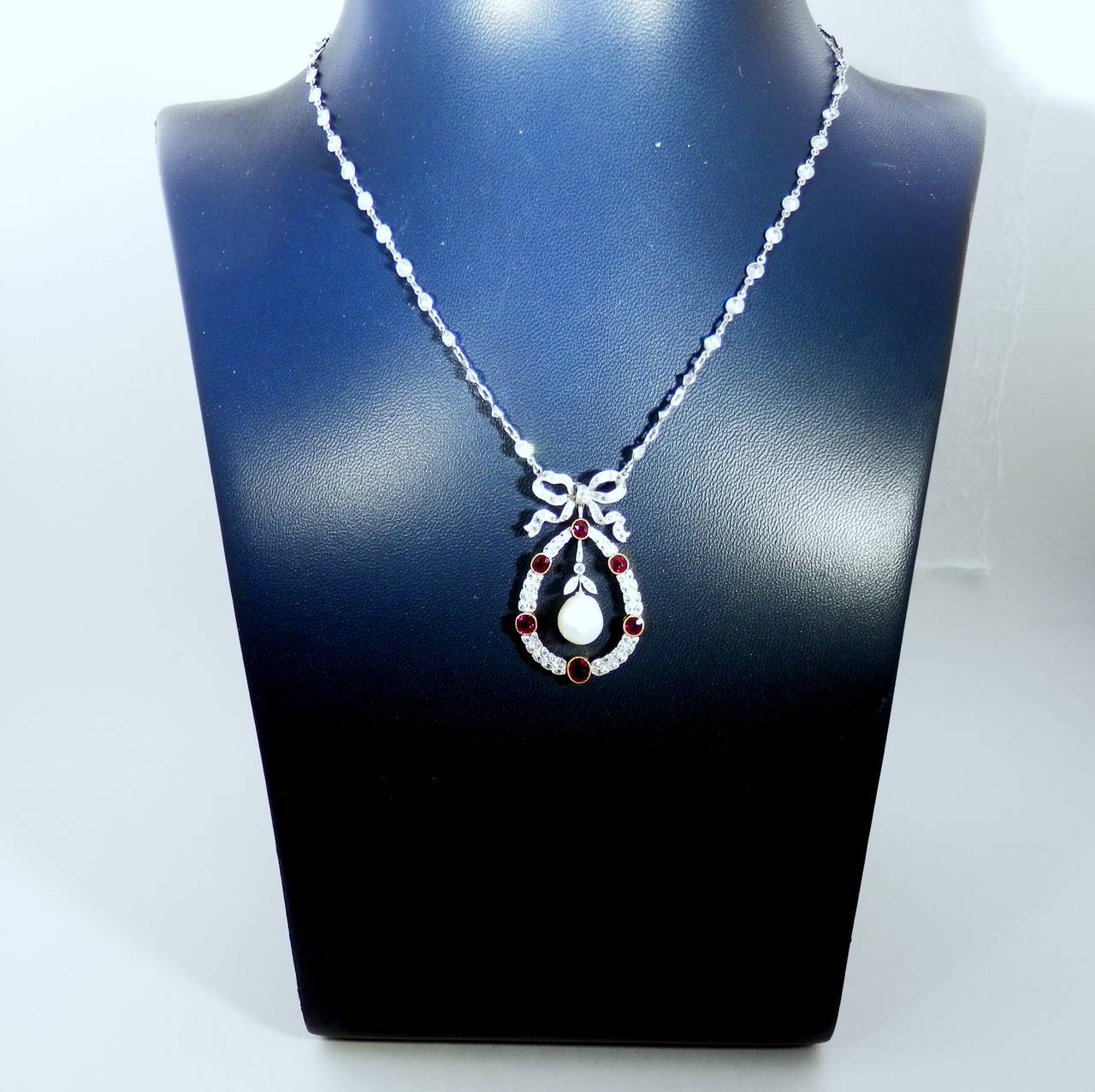 Women's Edwardian Natural Pearl Ruby Diamond Platinum Pendant For Sale