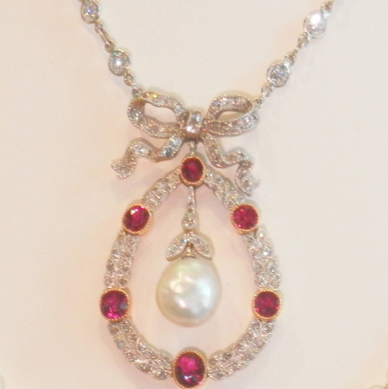 Edwardian Natural Pearl Ruby Diamond Platinum Pendant In Excellent Condition For Sale In Aspen, CO