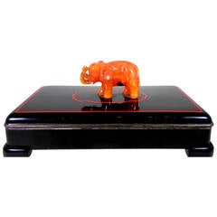 Cartier Art Deco Enamel Lacquer Box with Carved Carnelian Elephant