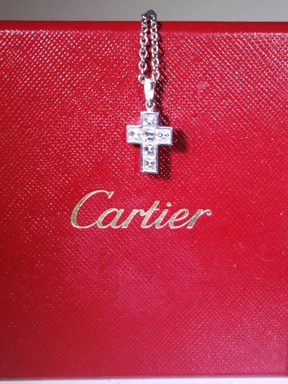 Cartier Diamond Platinum Cross Necklace In Excellent Condition For Sale In Aspen, CO
