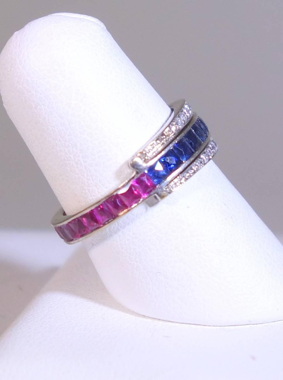 1930s sapphire ruby platinum flip band ring at 1stdibs