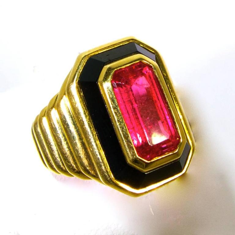 pink tourmaline onyx gold ring for sale at 1stdibs