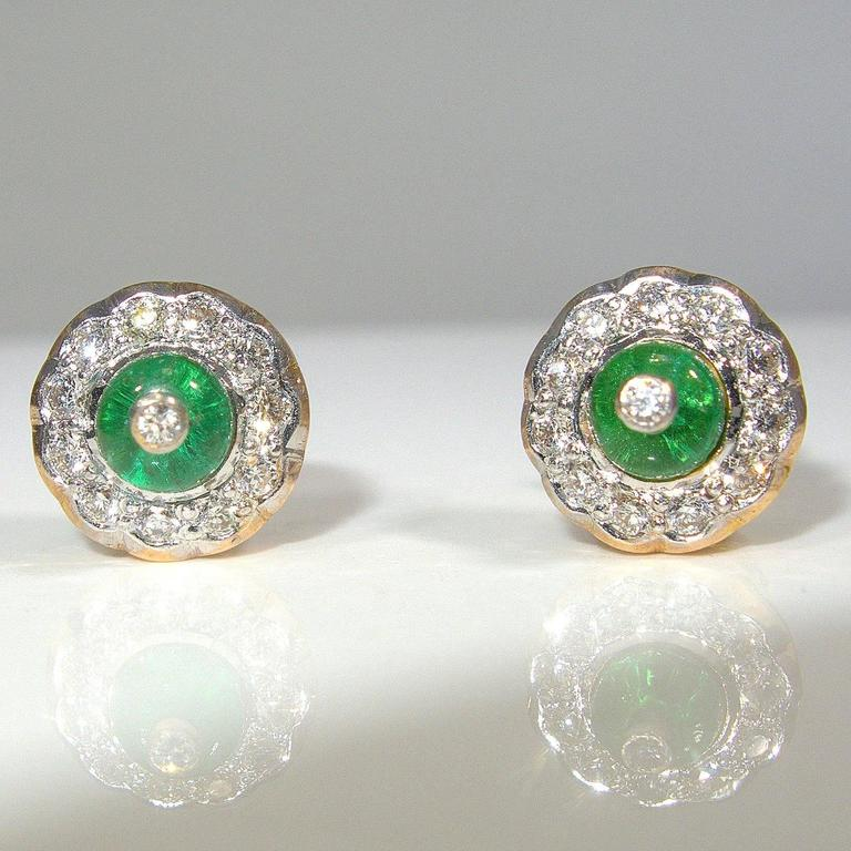 Emerald Diamond Gold Platinum Earrings For Sale at 1stdibs
