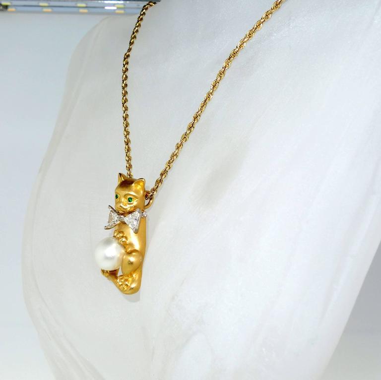 Oscar Heyman Diamond Gold Platinum Bow Tied Cat Pendant 3