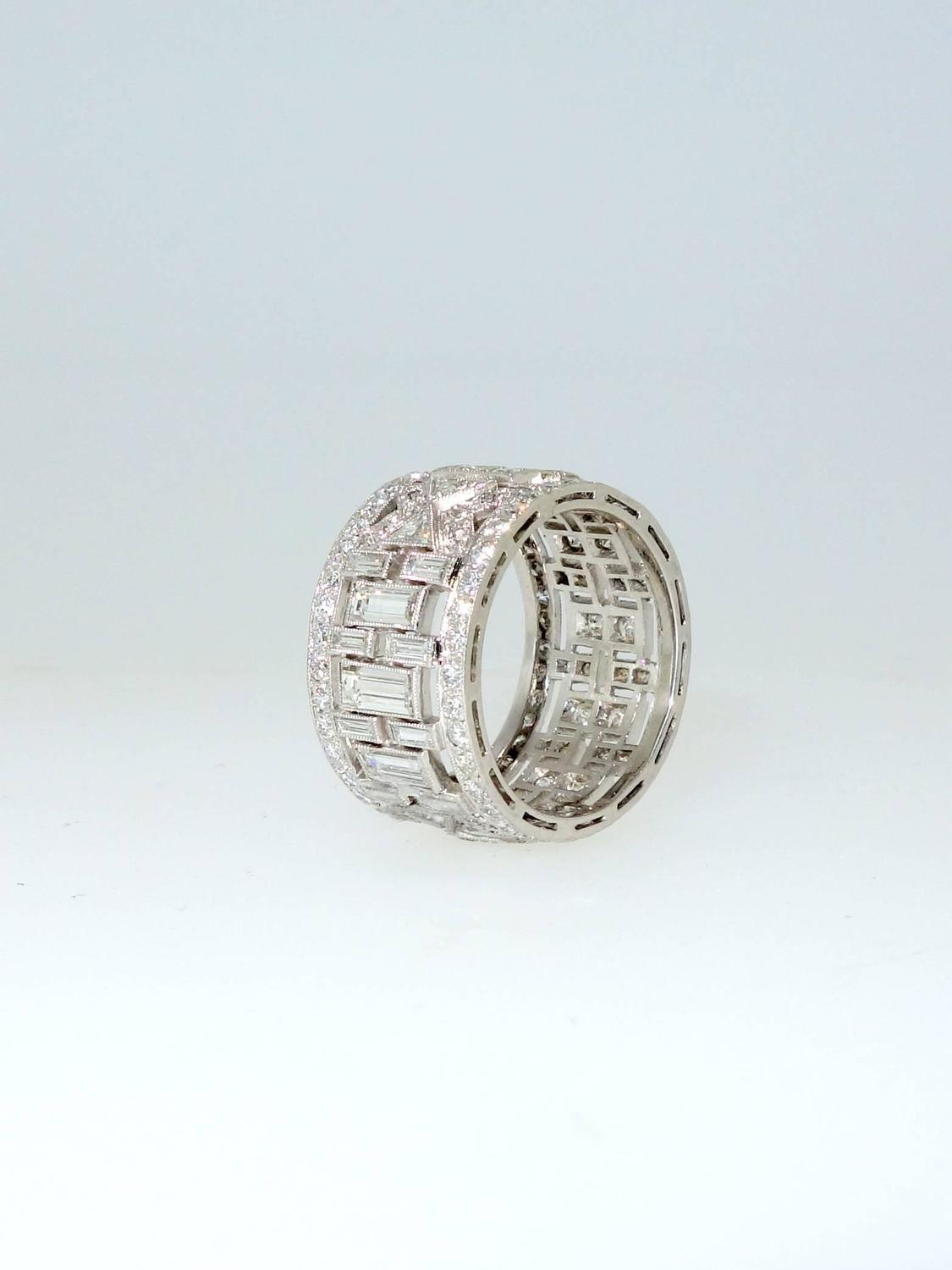 deco wide platinum band ring at 1stdibs