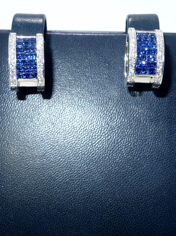 """Invisibly Set Sapphire Diamonds Gold """"Reversible"""" Earrings 3"""