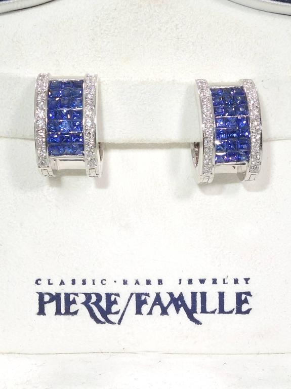 """Invisibly Set Sapphire Diamonds Gold """"Reversible"""" Earrings 5"""