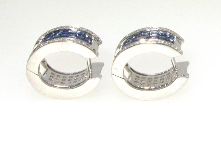 """Invisibly Set Sapphire Diamonds Gold """"Reversible"""" Earrings 6"""