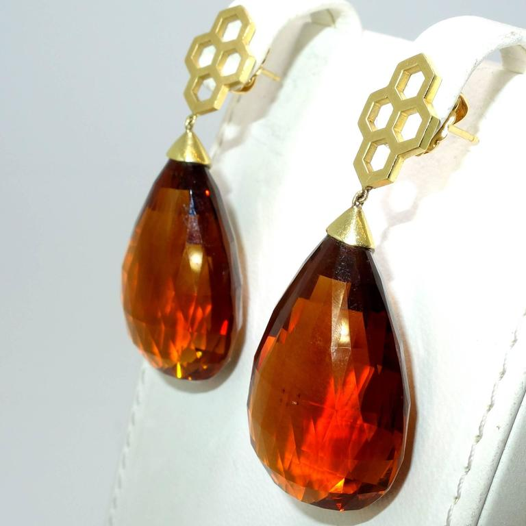 Madeira Citrine Briolette Gold Drop Earrings 3