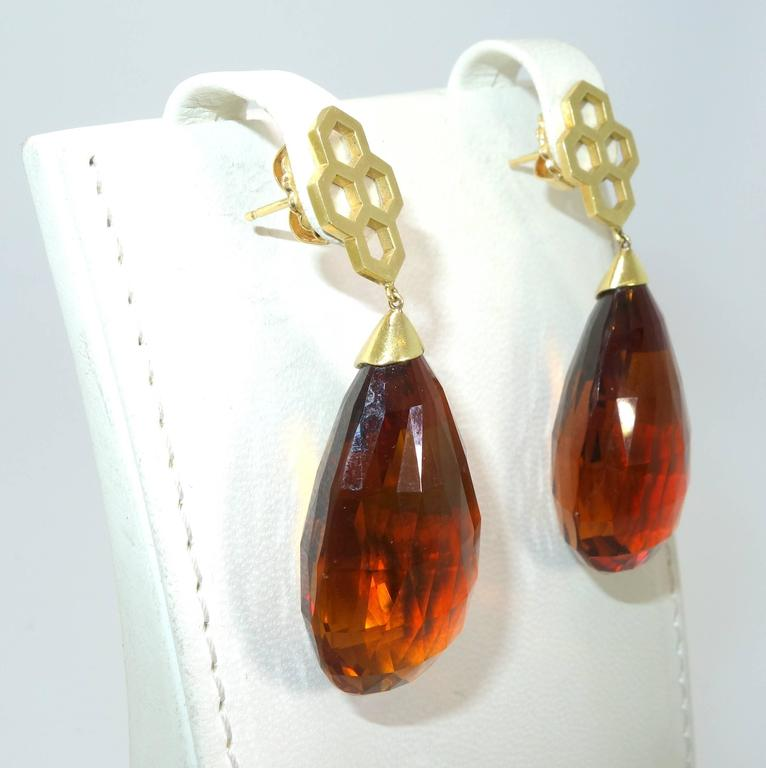 Madeira Citrine Briolette Gold Drop Earrings 4
