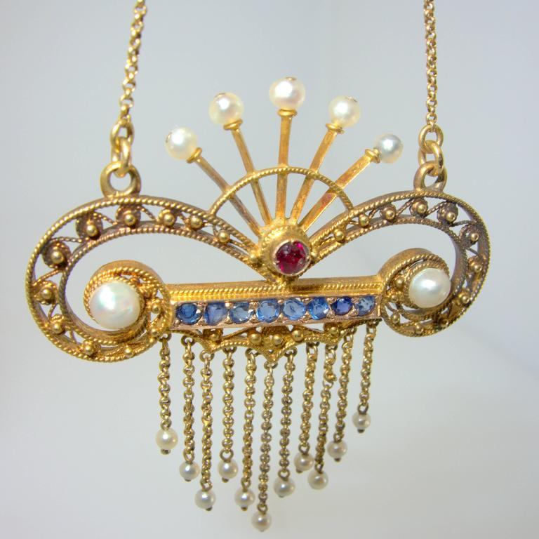 Antique Pearl Sapphire Ruby gold Lavelier, circa 1900 5