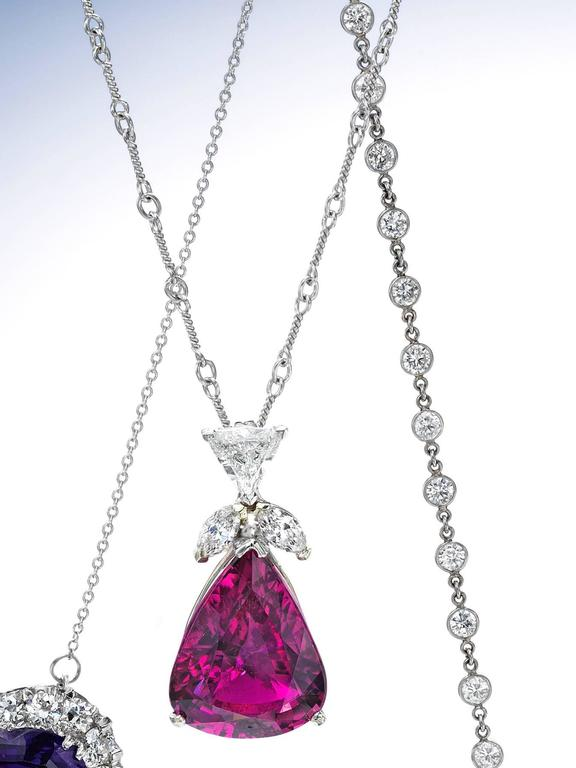 Contemporary Rubellite and Diamond Pendant For Sale