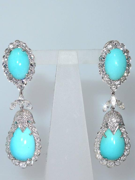 Contemporary 1960s Persian Turquoise Diamond Platinum Long Earrings For