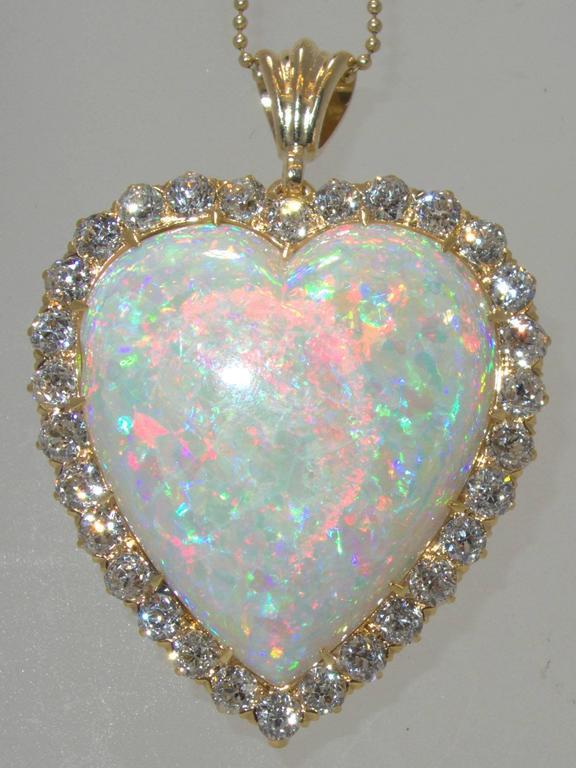30 Carat Opal Diamond Gold Heart Pendant At 1stdibs